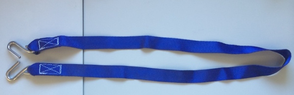Blue Hanging Straps 25mm x 1150mm c/w - 150kg rated Metal Hooks
